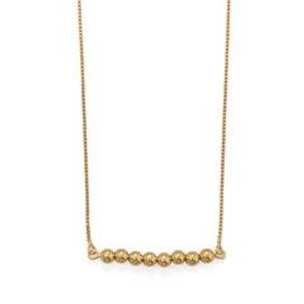 "16""+2 14 Karat Gold Plated Beaded Bar Necklace"