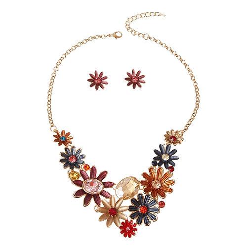 Colorful Metal Flower Necklace Set