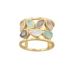 14 Karat Gold Plated Multi Stone Ring