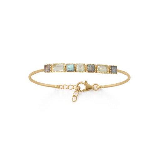 14 Karat Gold Plated Labradorite and Prasiolite Bracelet