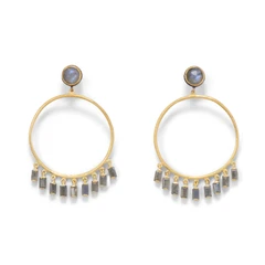 14 Karat Gold Plated Post Hoop Earrings with Dangling Labradorite