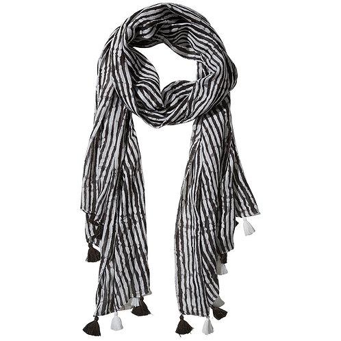 Black Long Stripe Fringe Scarf