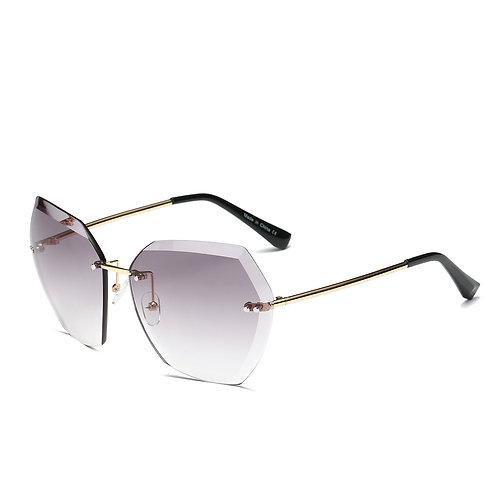 Rimless Angled Edge Sunglasses