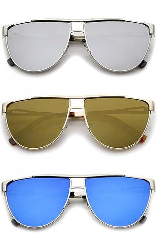 Flat Top Colored Mirror Flat Lens Aviator Sunglasses- Unisex