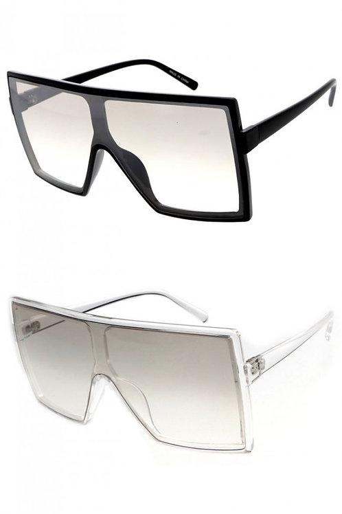 Bold Fashion Clear Lens Flat Top Square Sunglasses-Unisex