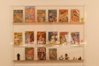 On the main wall were small shelfes with books and collectibles