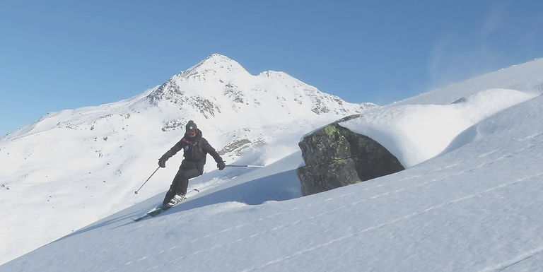 Un excellente skieuse évoluant en poudreuse hors des pistes devant un beau panorama de montagne