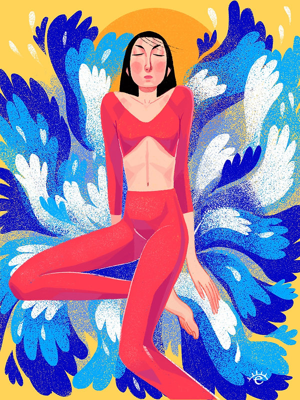 woman waves editorial illustration summer vibes relax peace