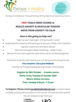 Join our Yoga - 6 sessions from Tues 27th Oct 6.30pm class - FREE