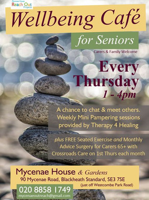 We are at Mycenae House giving mini treatments every Thursday whilst we can (Covid-19 safe)