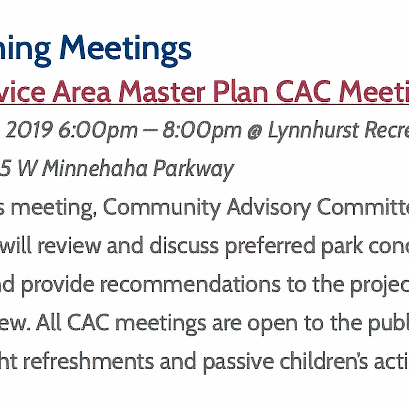 Southwest CAC Parks Meeting