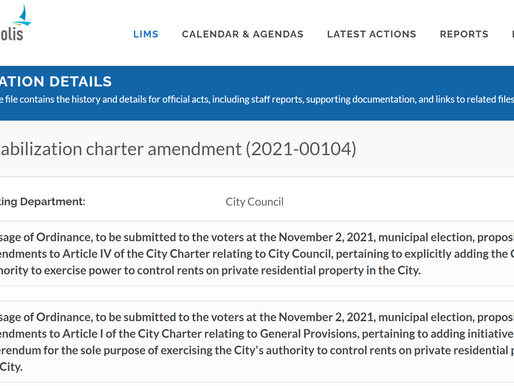 City Council Pursues Rent Control Charter Amendment