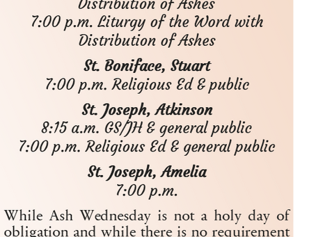 Ash Wednesday Mass Schedules