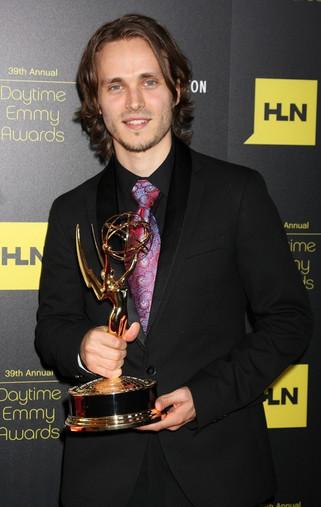Jonathan Jackson with his Emmy, 2012