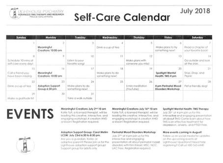 July Self-Care Calendar