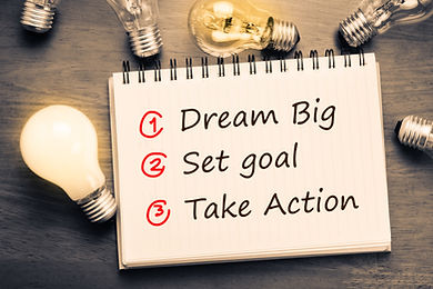 Dream Big - Set Goal - Take Action, hand
