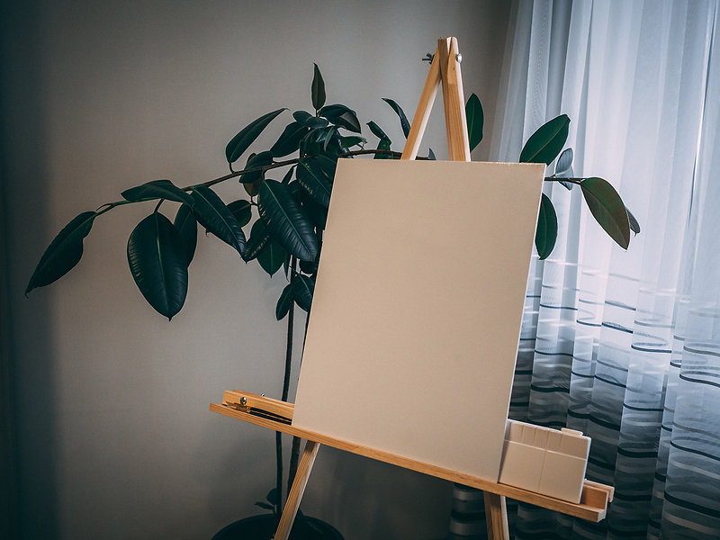 white-board-on-easel-beside-green-plant-