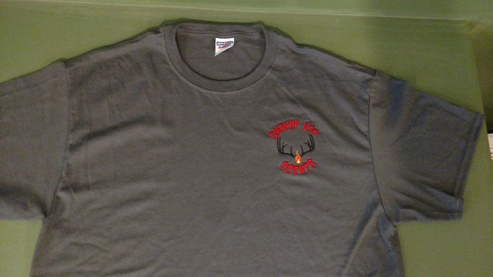 Smokin Hot Scents Charcoal Gray Embroidered T-shirt
