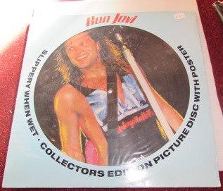 BON JOVI SLIPPERY WHEN WET PIC DISC LP + POSTER