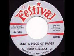 BOBBY COMSTOCK just a peice of paper  POPCORN