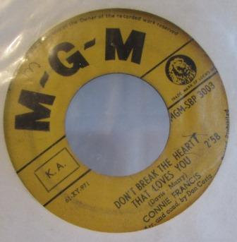 CONNIE FRANCIS DONT BREAK THE HEART IMPORT