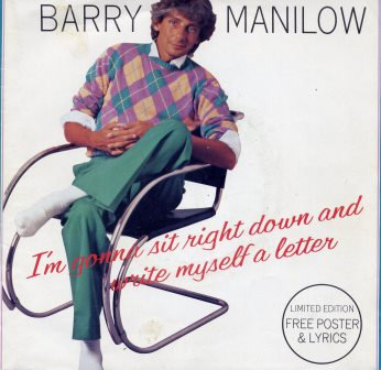 BARRY MANILOW IM GONNA SIT RIGHT DOWN POSTER    7""
