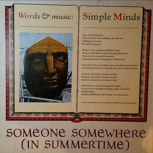SIMPLE MINDS SOMEONE SOMEWHERE POSTER SLEEVE