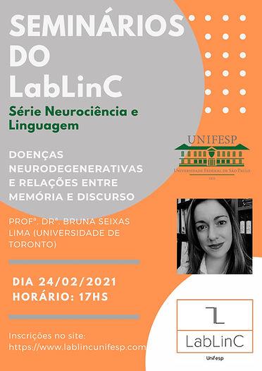 Cartaz Seminários do LabLinC Bruna Seix