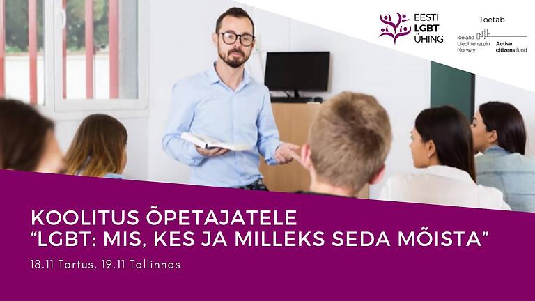 """Tartu: Koolitus õpetajatele """"LGBT: mis, kes ja milleks seda mõista"""""""