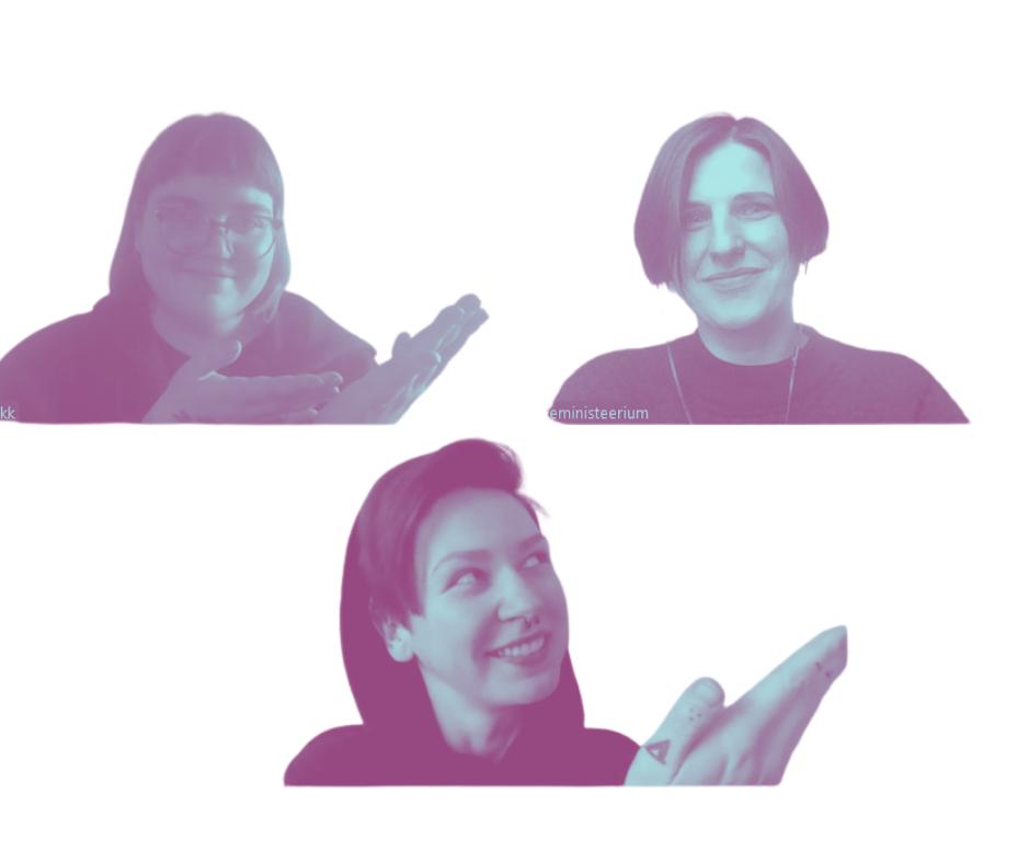 Lillakates toonides valge taustaga Zoomi pilt. Eva Marta ja Kristiina näitavad saatekülalisi Aet Kuusiku poole.