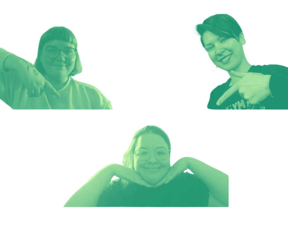 Rohelise filtri ja valge taustaga Zoomipilt Eva Martast, Kristiinast ja Anettest