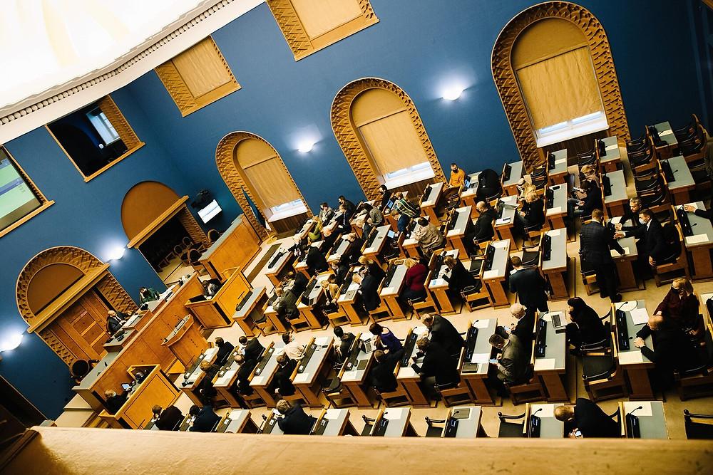 Vaade rõdult Riigikogu saalile