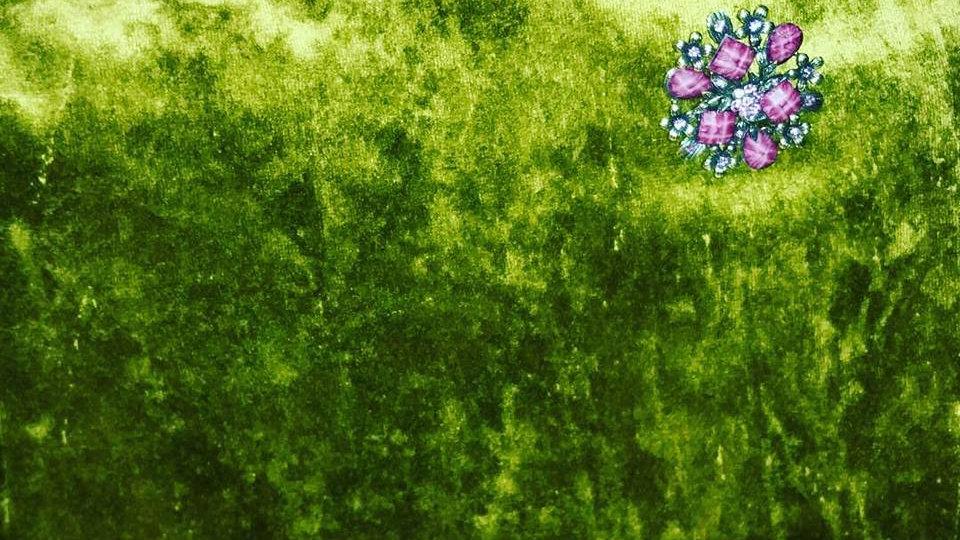 Rich Olive Green Crushed Velvet Messenger Bag