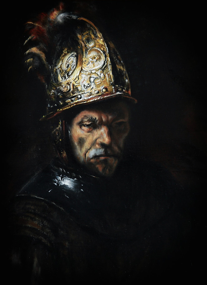 """Man with a golden helmet"""