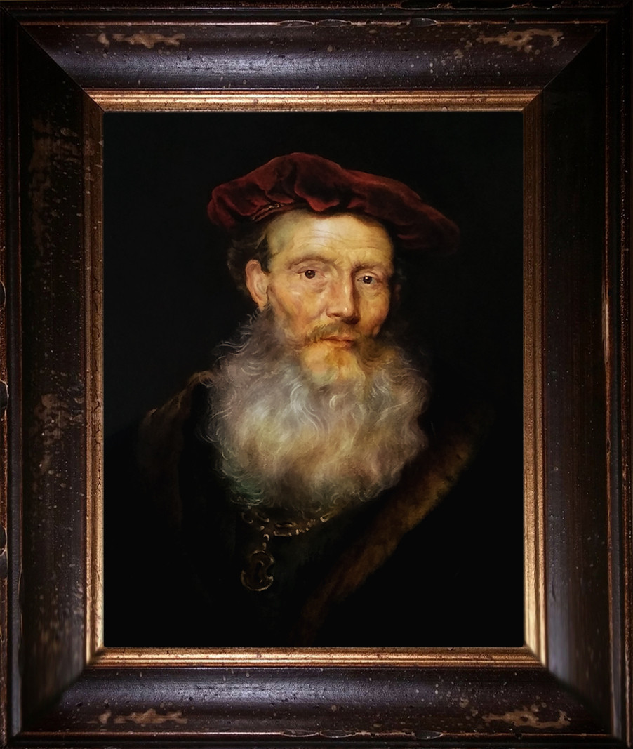 """Bearded man with a velvet hat"", after Govert Flinck"