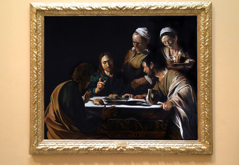 Analyzing Supper in Emmaus: mastercopy after Caravaggio and study by Massimo Tizzano.