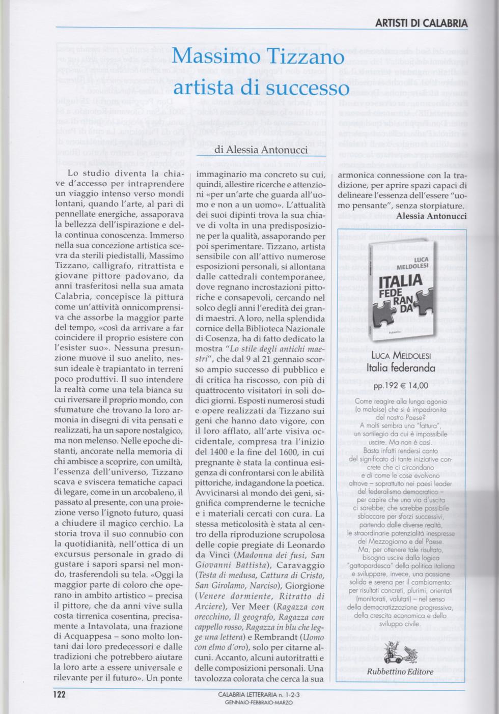 Calabria letteraria su Massimo Tizzano