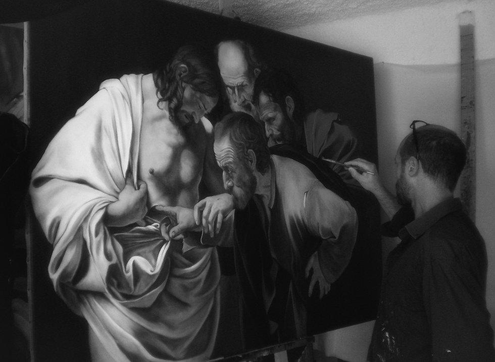 Massimo_dipinge_Incredulità_di_Tommaso__