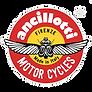 Ancillotti Logo Marchio Storico Registrato tondo giallo su cerchio rosso con scarabeo ali aperte con scritte Firenze, Made in Italy, Motor Cycles