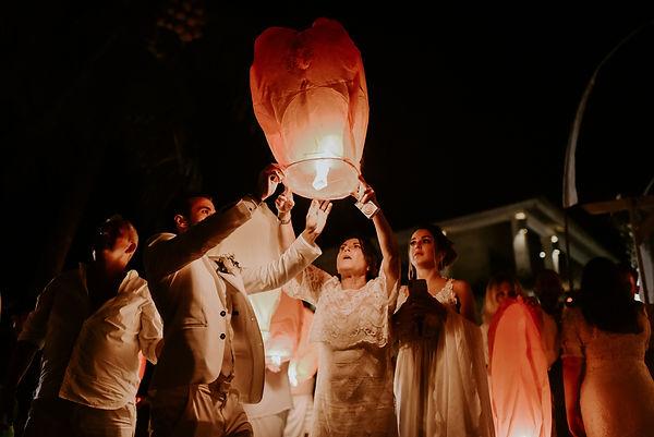 Lantern release during wedding