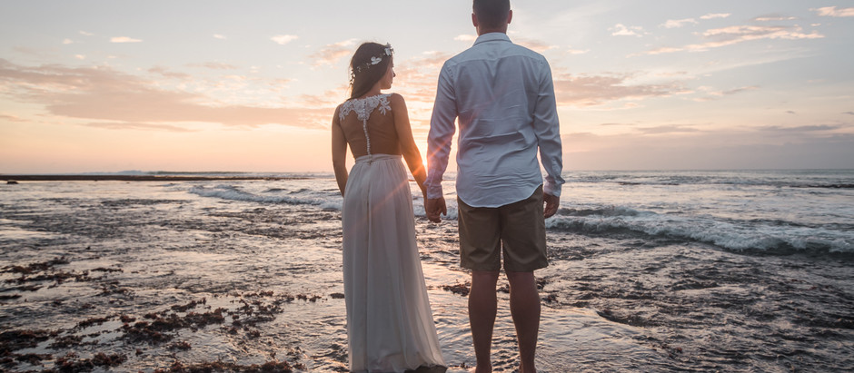 Honey moon photoshoot on the cliffs of Bali.