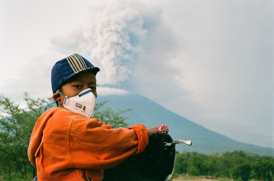 Boy and volcano