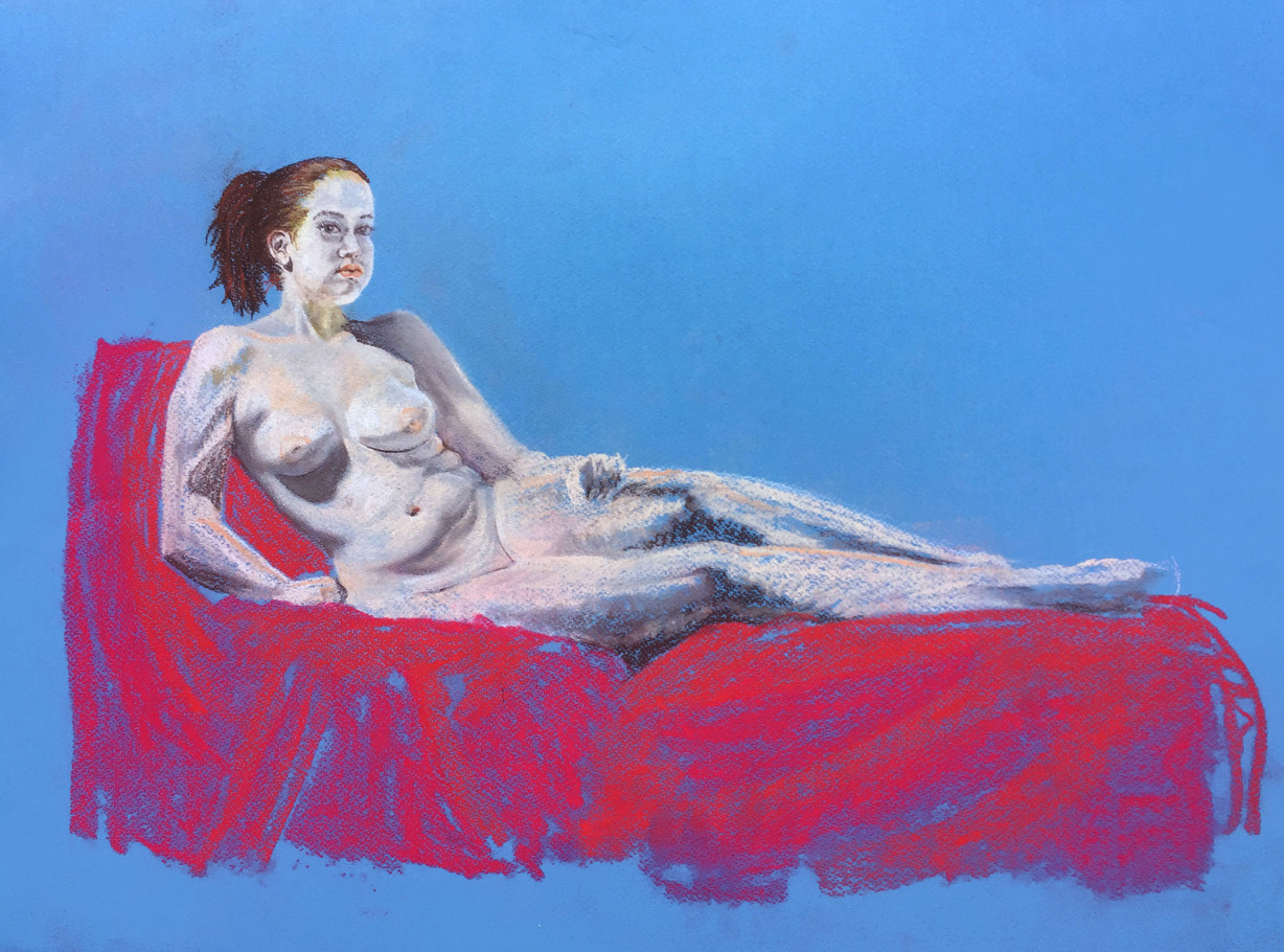 Woman on Red Sofa