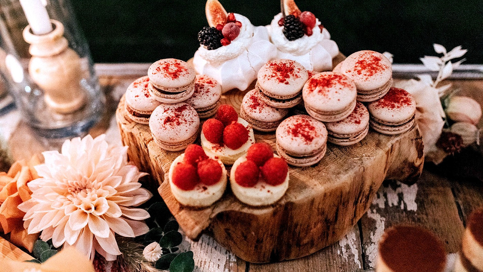 Elopement Dessert Bar - mini pavlova, macarons, mini cheesecakes