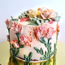 Palette knife flowers cake