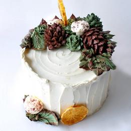 Stump de noel cake with buttercream pinecones and succulents