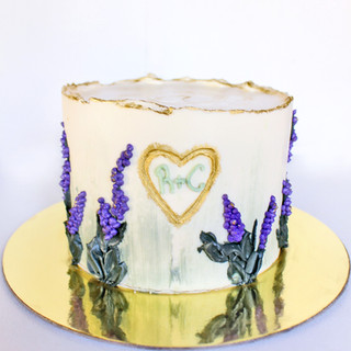 Lavender flower anniversary cake