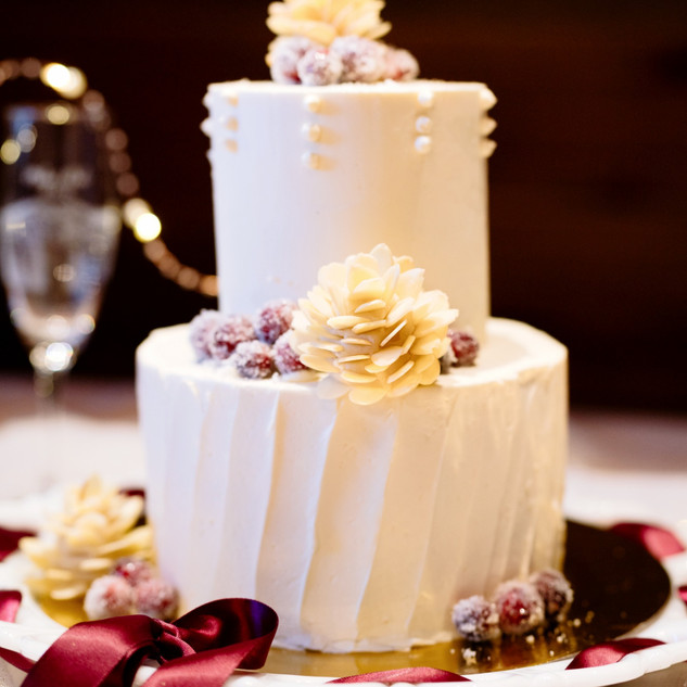 Winter wedding cake with almond pine cones and sugared cranberries