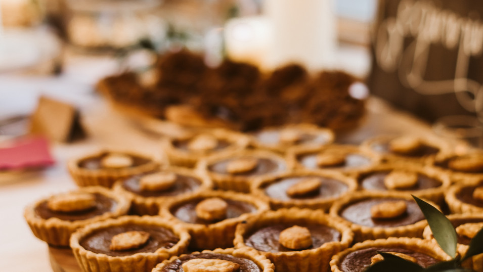 Fall dessert bar with mini pumpkin pies