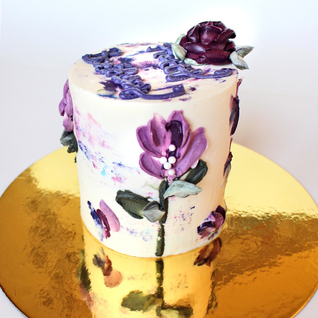Palette knife flower cake, painted flower cake
